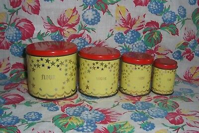 VINTAGE Wolverine Tin Metal CHILD'S Red & Yellow Stars TOY KITCHEN CANISTERS