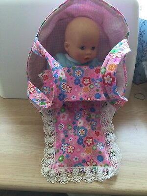 Baby Doll With Sounds /& Carry Cot Bed Pillow Carry Handles Carrier Play Set