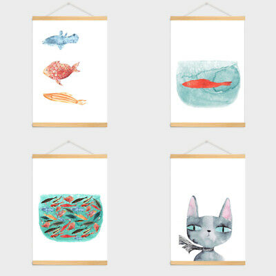 Cartoon Cat Fish Painting Poster Home Bedroom Hanging Decor Picture Ornament