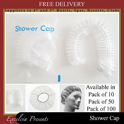 Disposable Shower Caps, Clear Elasticated Hair Protector,Saloon,Hotel B&B Travel