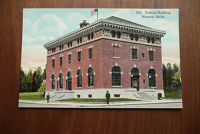 """Old Vintage Postcard """"Federal Building, Moscow, Idaho"""" ~ Unposted"""