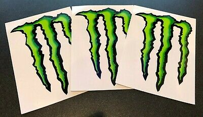 "3 MONSTER ENERGY STICKER 4"" x 3"" - GREEN M-CLAW GLOSSY DECAL STICKERS BRAND NEW"