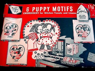 Vtg 1940s Superior Hot Iron Embroidery Transfer 119-6 PUPPY MOTIFS-Towels/Linens
