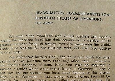 WWII US Army Military Rules Pamphlet Special Orders for American German Relation
