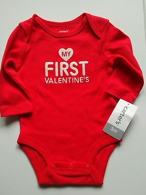 3m NWT CARTERS Baby My First Valentine's Day Red Long Sleeve Bodysuit 0-3m NEW