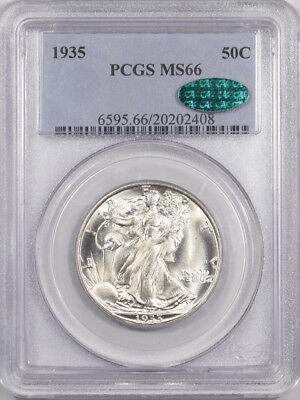 1935 Walking Liberty Half Dollar Pcgs Ms-66 Premium Quality! Cac Approved!