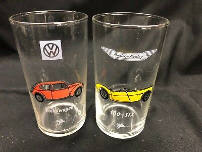 Vintage Mobil Gas Classic Car Collector Glasses Set of 2!  Very Rare Volkeswagen