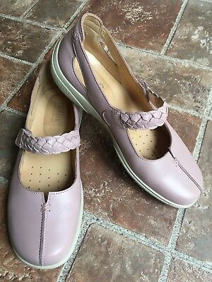 Ladies Leather Hotter Comfort Shoes Flats Size 6 / 39 SHAKE Baby Pink Worn Once