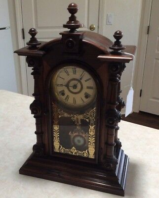 Antique Welch Spring & Co. Patti V.P. Clock w/ 6 jewel pendulum and key- nice!