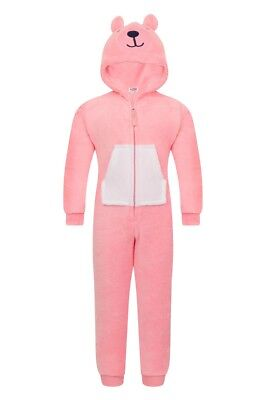 Girls Novelty Hood Coral Pink Teddy Bear Cosy Fleece All In One - In 4 UK Sizes
