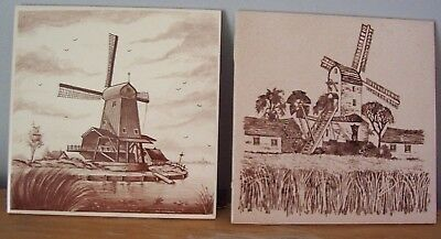 """Lot Of 4 Vintage 6"""" Brown & White Windmill Ceramic Tiles"""