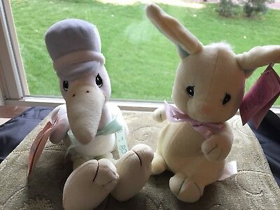Precious Moments Tender Tails Stork Plush~It's A Boy-2000 & Tender Tails Bunny!