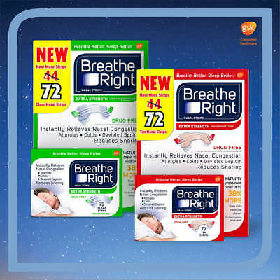 Breathe Right Extra Strength Nasal Strips Reduces Snoring Drug Free, 72 Count