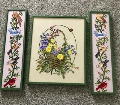 Vintage Framed Needlepoint With A Basket of Beautiful Flowers & 2 With Birds