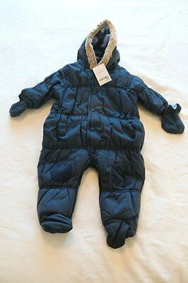 NEW Baby Boy Navy Blue Quilted Snowsuit All-in-One Pramsuit NEXT size 3-6 months