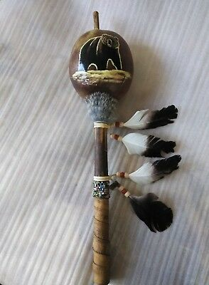 Hand Painted Dance Gourd Rattle , Ceremonial , Santa Fe Style , Real ,bear  #2