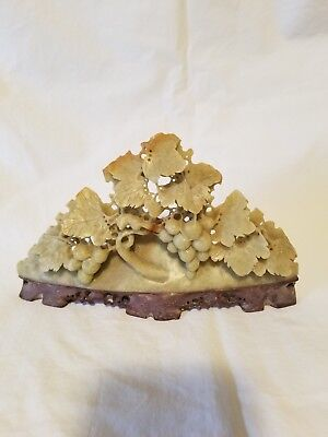 Vintage Soapstone Carving Grapes Leaves