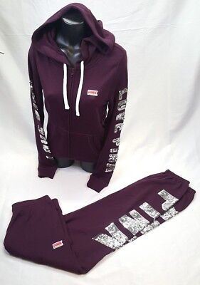 712d9c1a2e2be VICTORIA'S SECRET PINK BLING Set Hoodie Sweatshirt Campus Pant Maroon S  Small