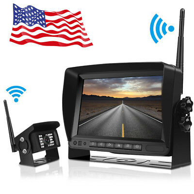 "Wireless Digital IR Rear View Back up Camera+ 7"" Monitor For Bus RV Truck Kits"