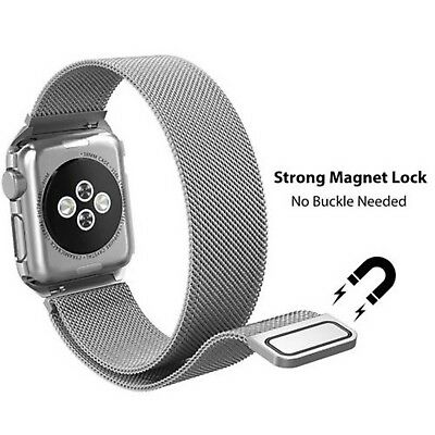 For Apple Watch Strap 38/44MM Stainless Steel Silver Milanese Loop Magnetic