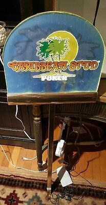 Rare Casino Caribbean stud poker Table Game Mount Sign, Works!