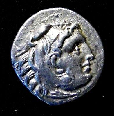 Greek Drachm. In the Name & Types of Alexander the Great. Ancient Silver Coin.