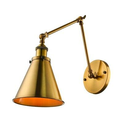 Vintage Brass Finished Swing Arm Wall Sconce Light Barn Adjustable Fixture Lamp