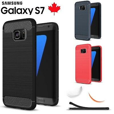 For Samsung Galaxy S7 Case Carbon Fibre Cover TPU Shockproof Heavy Duty Cover