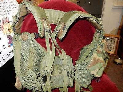 US ARMY Military Woodland Camo ENHANCED TACTICAL LOAD BEARING VEST LBV