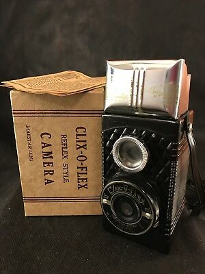 Vintage CLIX-O-FLEX Reflex Style Camera With Original Box And Manual