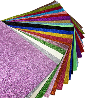 Super Fine Glitter Faux Leather Sheet Leatherette Fabric 20cm x 34cm per sheet