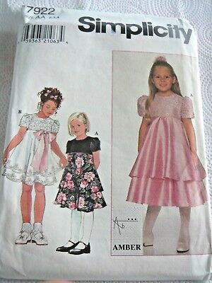 Simplicity 7922 UNCUT Fancy Dress Child Size 5-6X Sew Pattern
