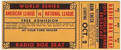 RARE World Series Baseball Ticket 1930s? Ford Radio Broadcast BoxSeat Rain Check