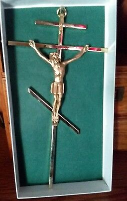 Brass 24 kt Gold plated Orthodox Crucifix 10""