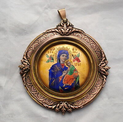 Antique Russian Icon Hand Painted Enamel made in france