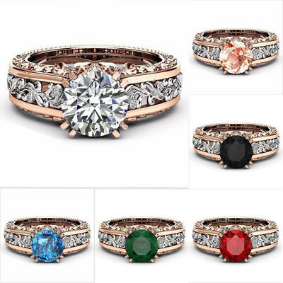 1 Pc Fashion Round Rose Gold Stainless Steel Wedding Band Ring Women Size 5-12