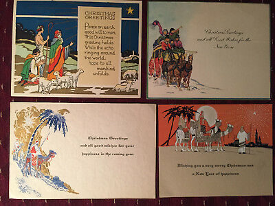 Lot Of 4 Vintage Christmas & New Year-Greetings For Family & Friends Cards