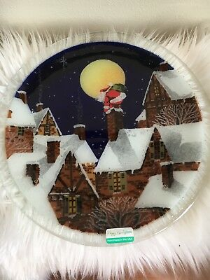 Peggy Karr Signed Christmas Plate Santa Clause Chimney Fused Art Glass Plate