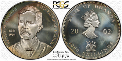 2002 Uganda 2000 Shillings Silver Coin Henry Stanley Ms66 Pcgs Color Obverse