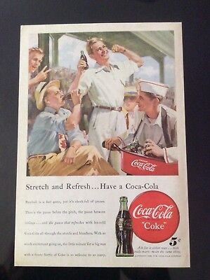 1948 vintage original color print ad Coca Cola Coke