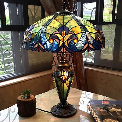Tiffany Style Double Lit 2+1 Light Stained Art Glass Antique Table Shade Lamp