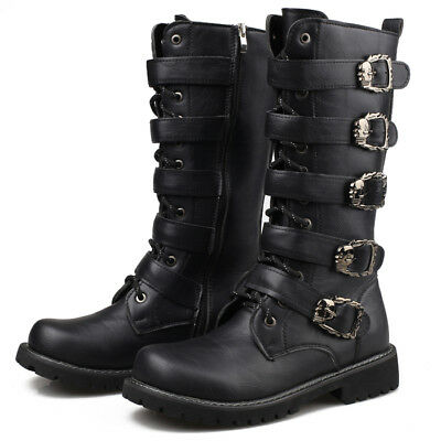 Mens Metal Punk Rock Goth Band Lace Up Buckle Zip Boots Motorcycle Riding Shoes