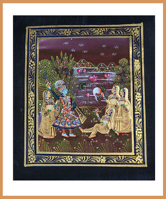 Radha Krishna Miniature painting on silk cloth with Natural Colors from India!