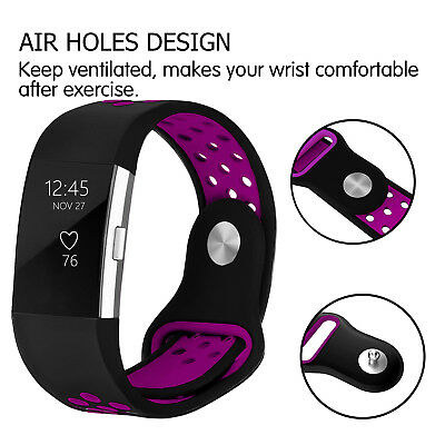 For Fitbit Charge 2 Silicone Replacement Wristband Wrist Strap Band Black Purple