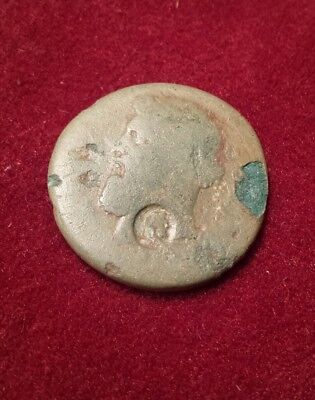 Ancient authentic Roman  bronze Provincial coin 2nd /3rd century , countermarked