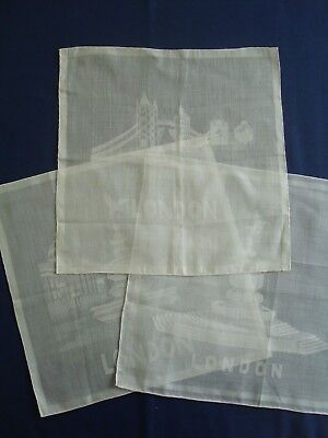 Set Of 3 White Handkerchiefs - Souvenir Of London - Never Used