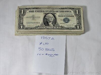 (50) 1957-A $1 Notes Bills Currency Silver Certificates *BLUE SEAL* FV=$50 12183