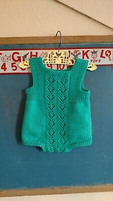 Vintage Toddler Infant Baby Stretch Sweater Knit Crochet Romper PlayJumpsuit