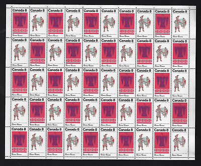Canada Stamps — Full Pane of 50 Stamps (1) — Algonkian Indians #568-569 — MNH