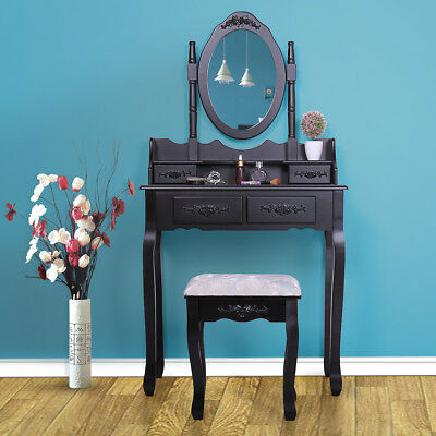 4 Drawers Vanity Table Set with Mirror and Cushioned Stool Makeup Dressing Table